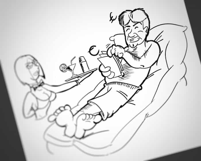 Preparando tarjeta despedida (Caricatura tipo cómic)