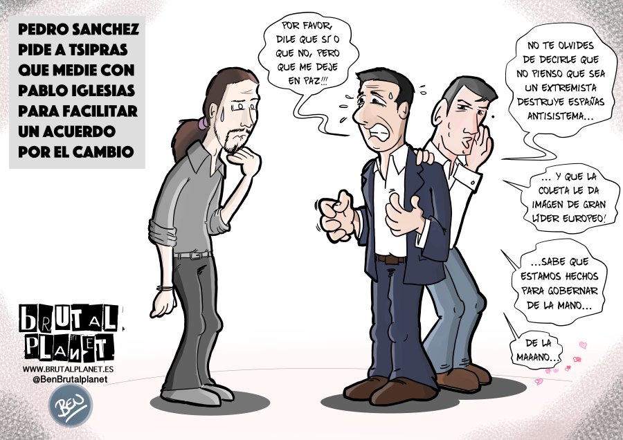 Pedro Sanchez pidiendo ayuda a Tsipras para negociar con Iglesias