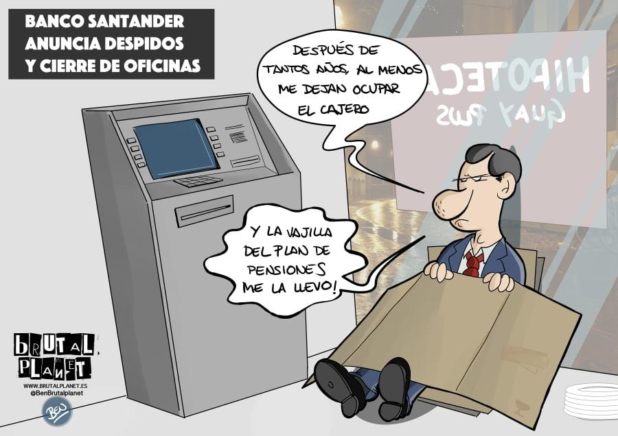 El Santander anuncia despidos y cierre de oficinas