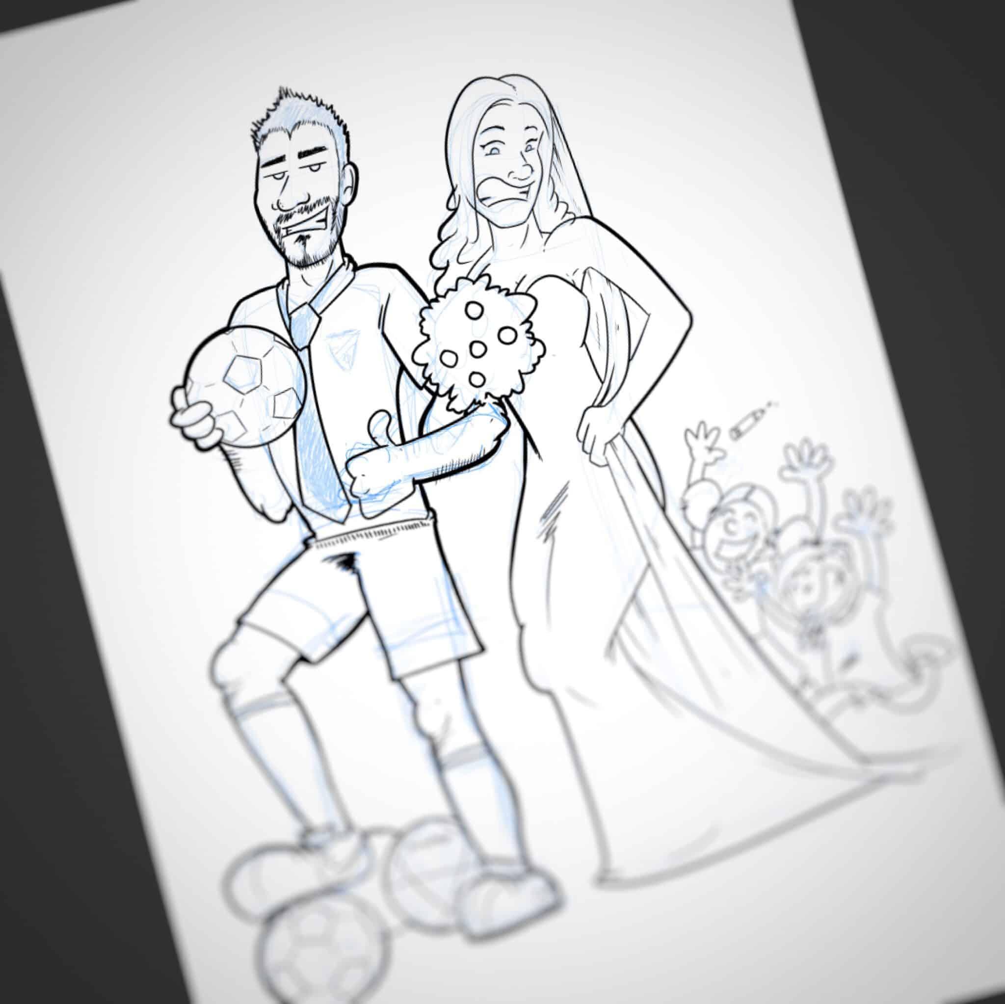 Caricatura personalizada: parches, fútbol, niños y bodas