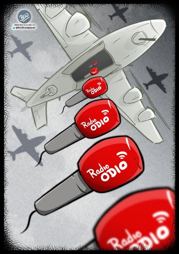 BrutalPlanet - 0398 - Bombardeando odio - VIiñeta sobre Jiménez Losantos y su bombardeo a Barcelona