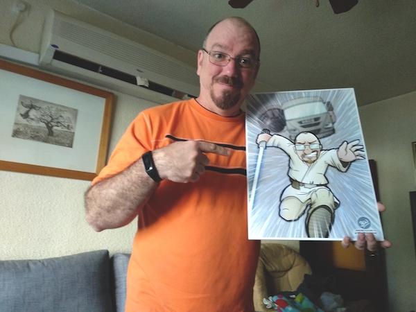 Caricatura personalizada tipo cómic - Camionero Skywalker