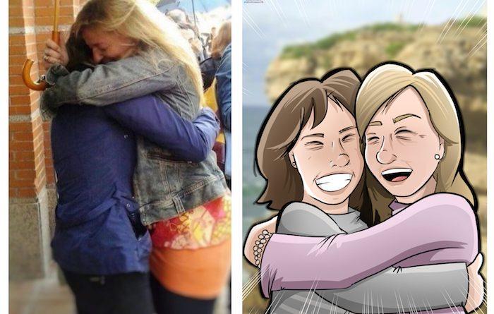 Caricatura Personalizada - Ana Garrido y Marián - Abrazo fraterno inmortalizado 0