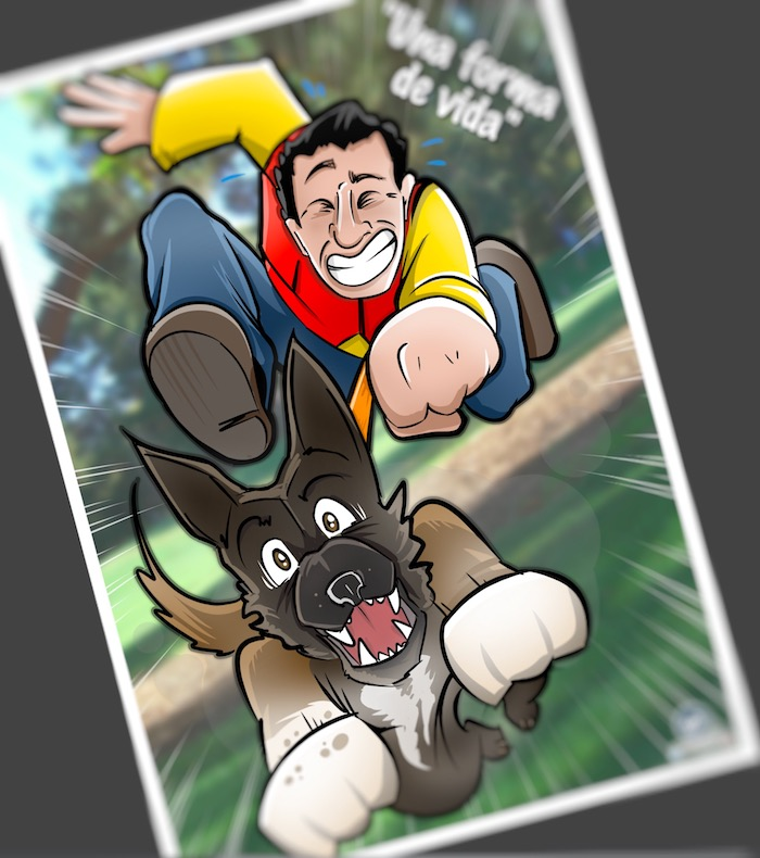 Caricatura Personalizada - Ángel y sus Perros protectores de víctimas de violencia de género - Final