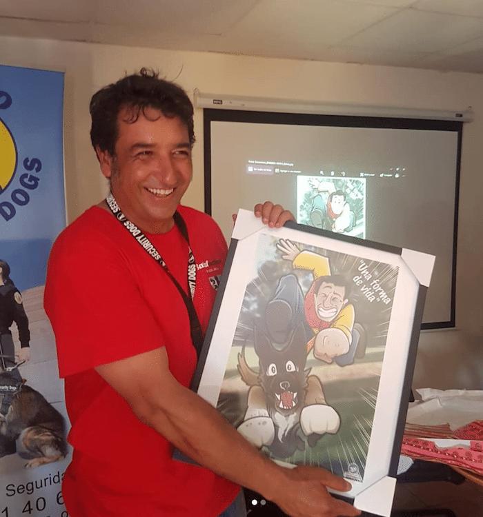 Caricatura Personalizada - Ángel y sus Perros protectores de víctimas de violencia de género - Resultado final