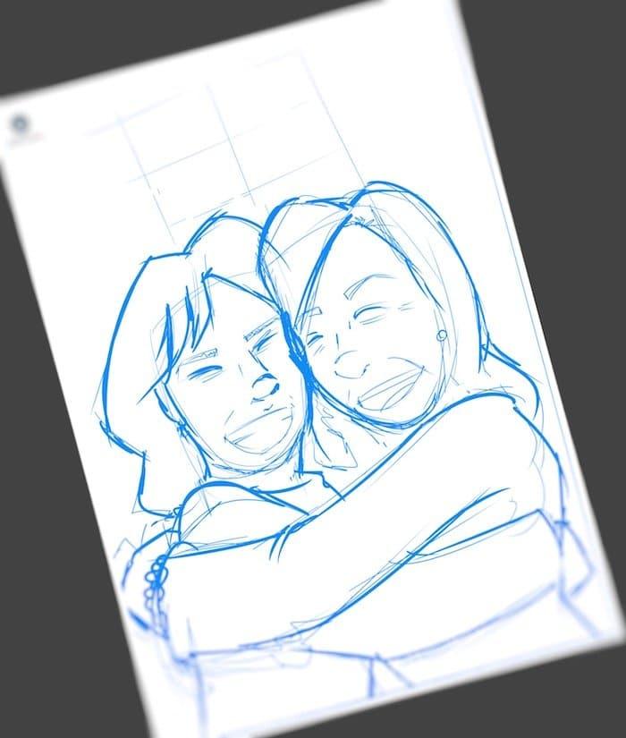 Caricatura Personalizada - Ana Garrido y Marián - Abrazo fraterno inmortalizado 1