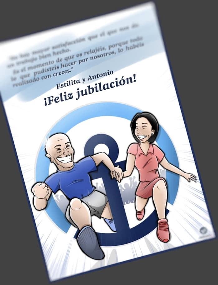 Ilustración Caricatura Personalizada Regalo de jubilación