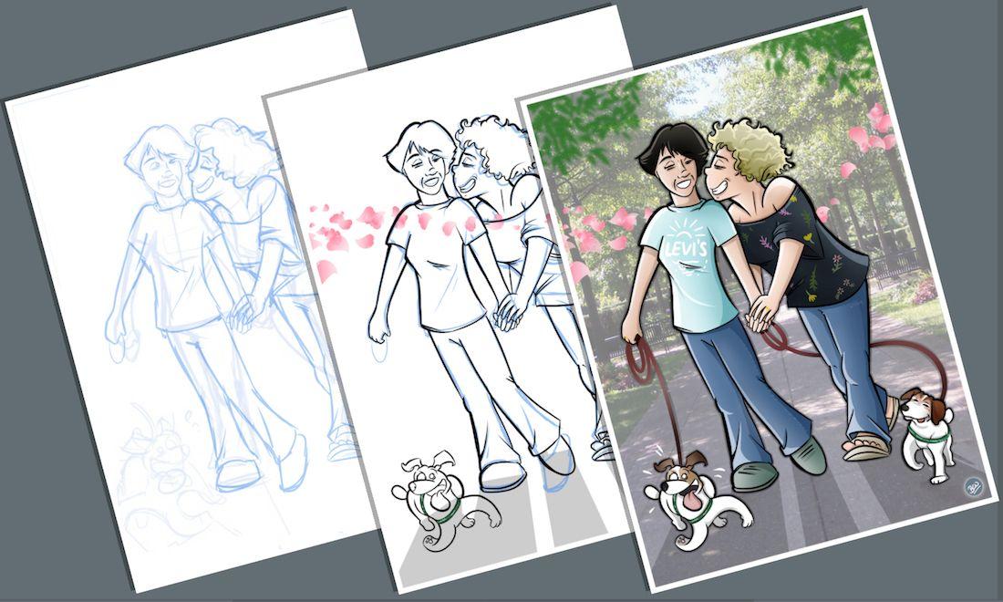 Caricatura - Ilustración Personalizada - Tu Vida en Cómic - tuvidaencomic.com - inmortalizando besos B