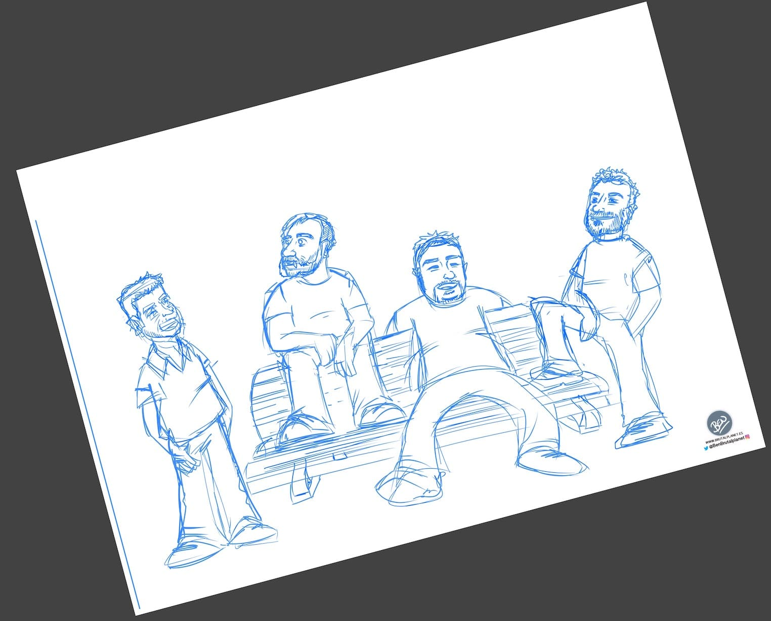 Caricatura Personalizada - Waiting on a Friend (Caricatura grupo de amigos) - 1