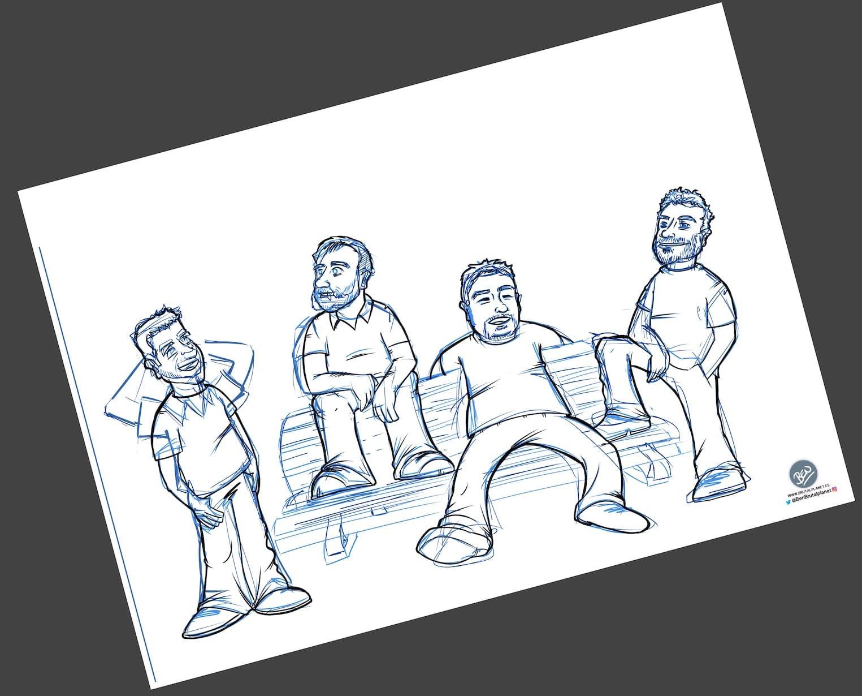 Caricatura Personalizada - Waiting on a Friend (Caricatura grupo de amigos) - 2