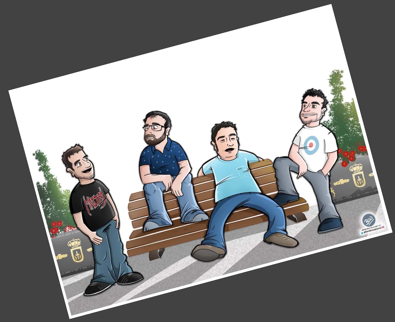 Caricatura Personalizada - Waiting on a Friend (Caricatura grupo de amigos) - 3