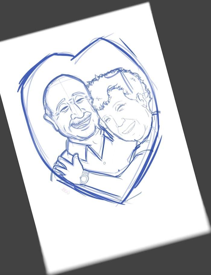 Ilustración Caricatura Personalizada - Amor que inspira - 1