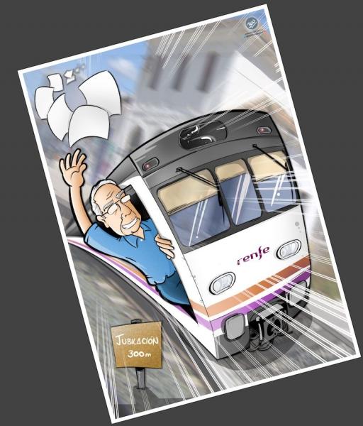 Ilustración Caricatura Personalizada - Jubilación y Trenes - B4