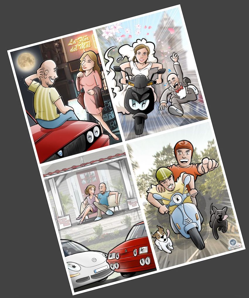 Ilustración - Caricatura Personalizada - Momentos de pareja - tuvidaencomic.com - Completo