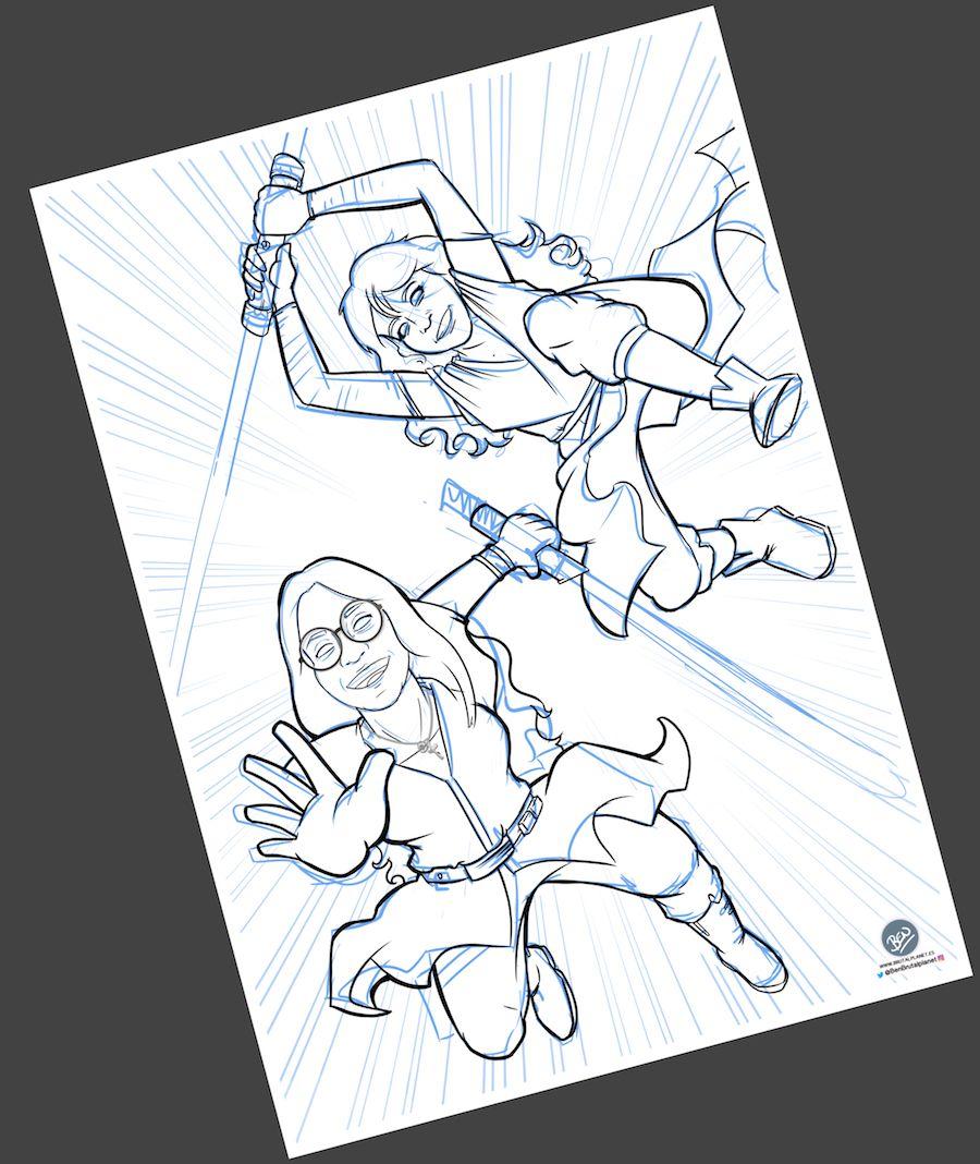 Ilustración Caricatura personalizada - Jedis en Vigo 2
