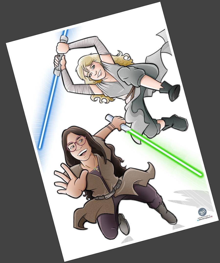 Ilustración Caricatura personalizada - Jedis en Vigo 3