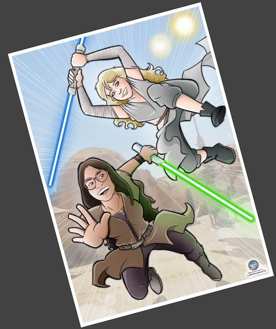 Ilustración Caricatura personalizada - Jedis en Vigo 4