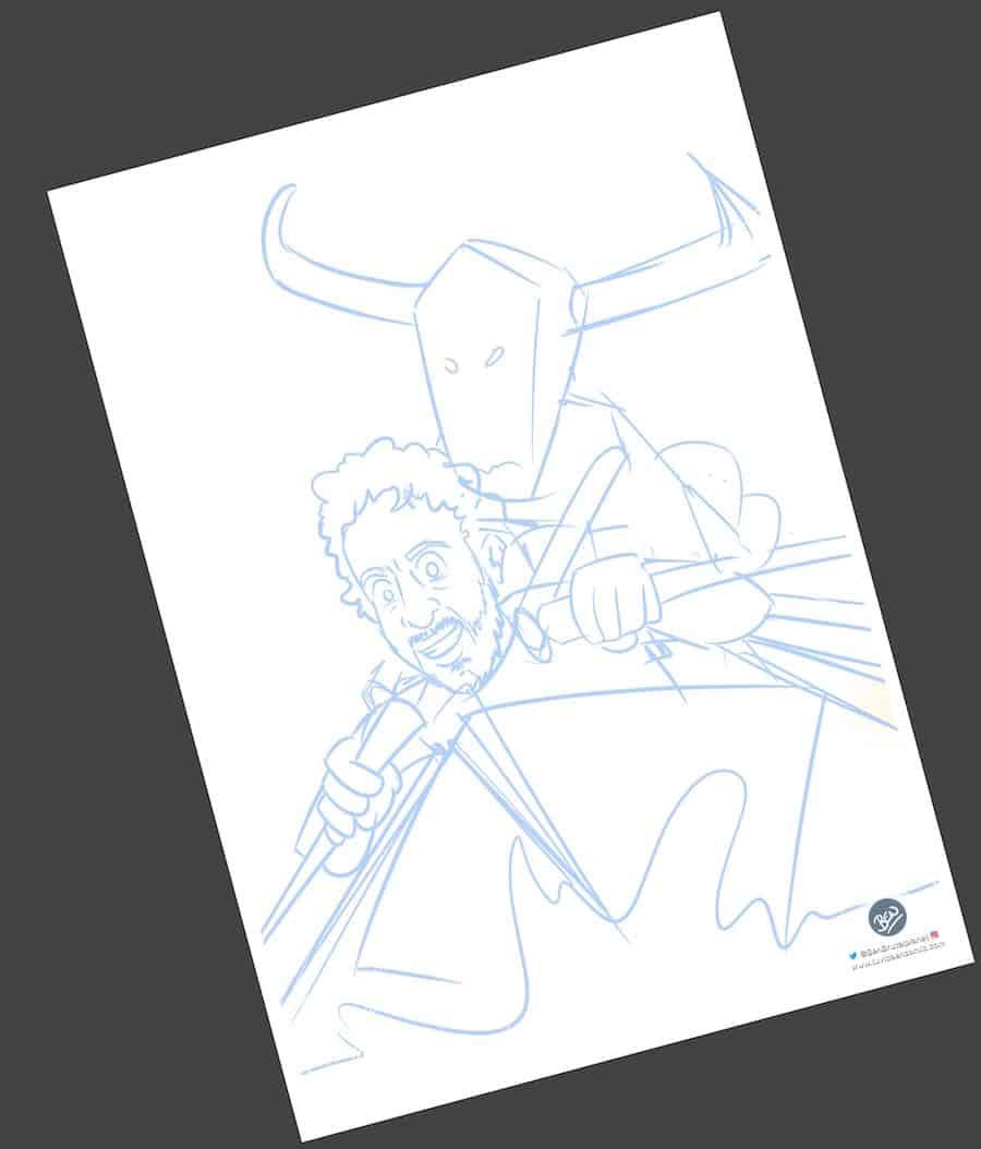 Caricatura Personalizada - Toros y traineras - Ilustración personalizada - tuvidaencomic.com - BEN - 1