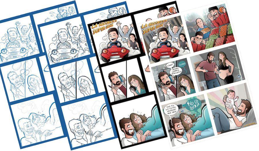 Composición Ilustración Personalizada - Historia del superhéroe de la familia - cómic personalizado - caricatura personalizada - tuvidaencomic.com - BEN - 5