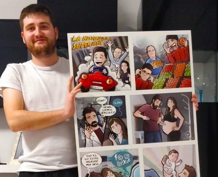 Composición Ilustración Personalizada - Historia del superhéroe de la familia - cómic personalizado - caricatura personalizada - tuvidaencomic.com - BEN - Testimonio Mini