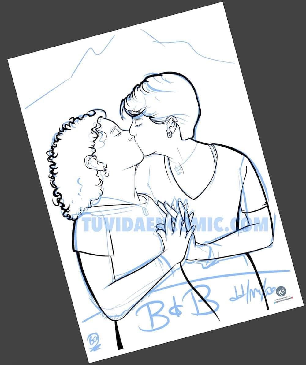 Foto Ilustración Caricatura Personalizada - Beso Inmortalizado - tuvidaencomic.com - BEN - 2