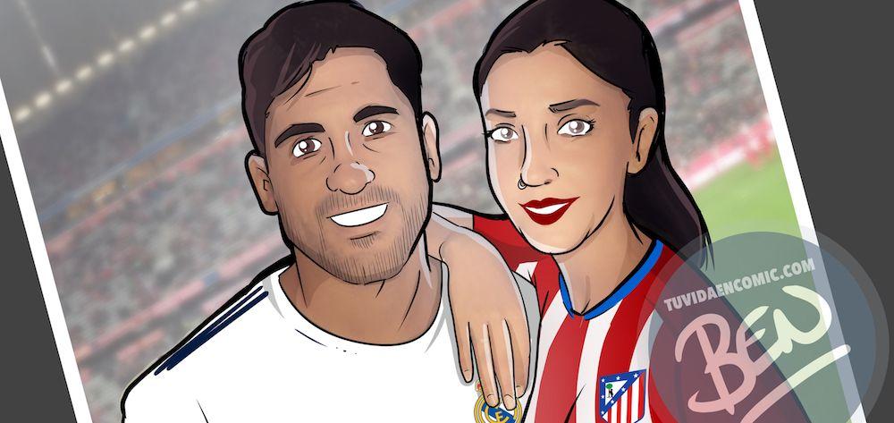 Ilustración Caricatura Personalizada - Amor y rivalidad son compatibles 0