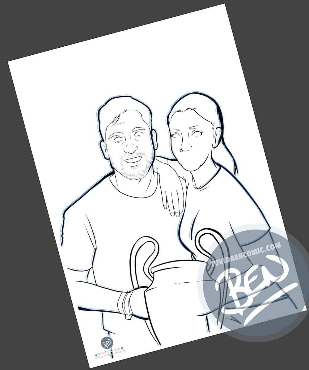 Ilustración Caricatura Personalizada - Amor y rivalidad son compatibles 1