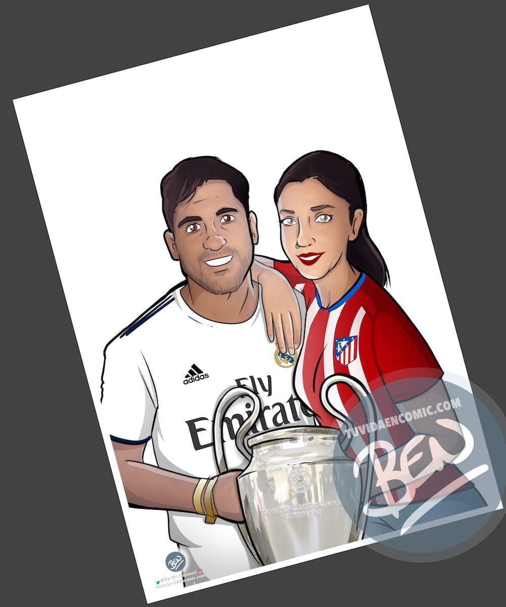 Ilustración Caricatura Personalizada - Amor y rivalidad son compatibles 2