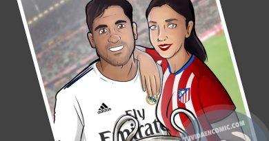 Ilustración Caricatura Personalizada - Amor y rivalidad son compatibles 3