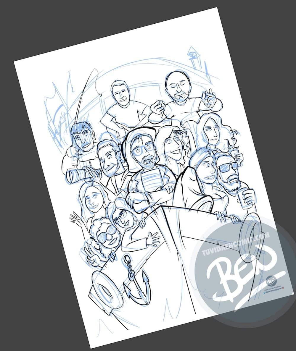 Ilustración Caricatura Personalizada - Un recuerdo para el amigo que se va - 1