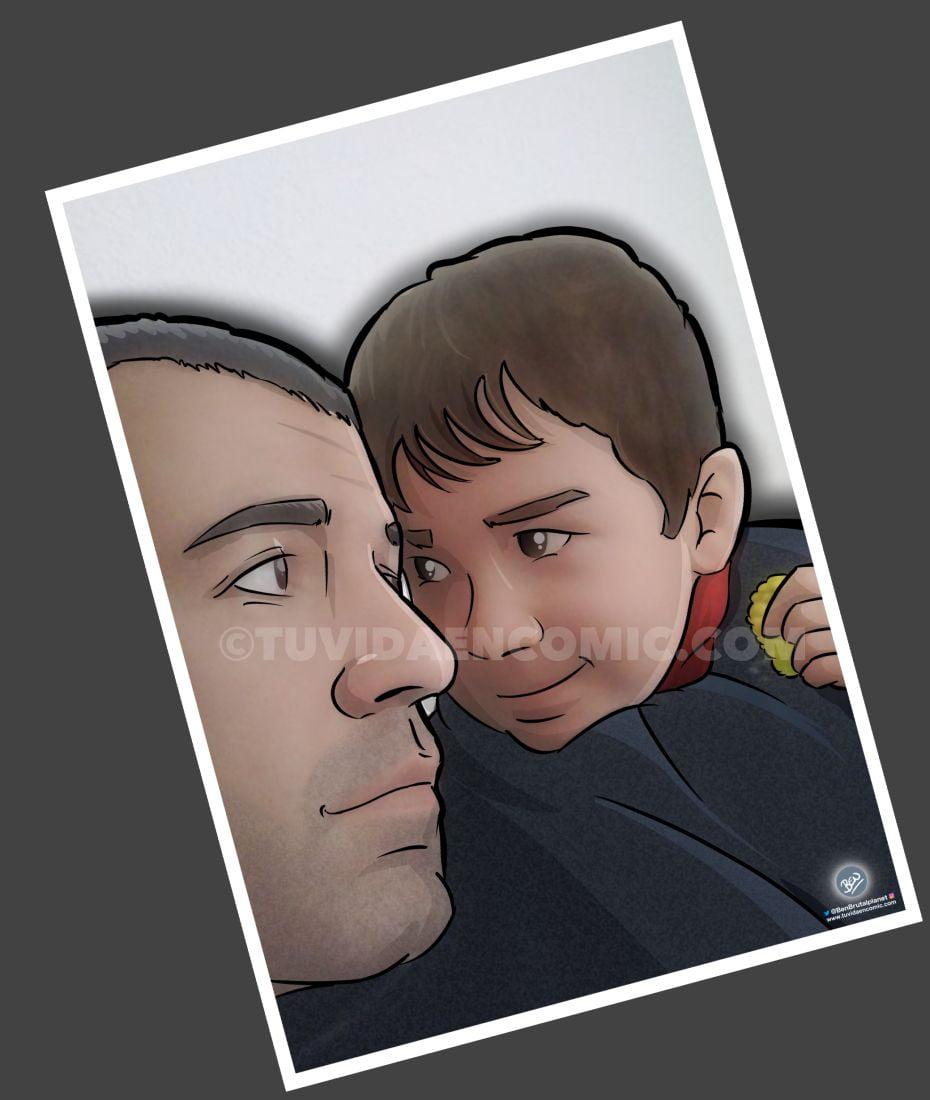 Ilustración Personalizada - La mirada cómplice de padre e hijo - Fotografía tipo cómic - Foto Ilustración - tuvidaencomic.com - BEN - 1