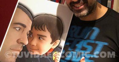 Ilustración Personalizada - La mirada cómplice de padre e hijo - Fotografía tipo cómic - Foto Ilustración - tuvidaencomic.com - BEN - Testimonio
