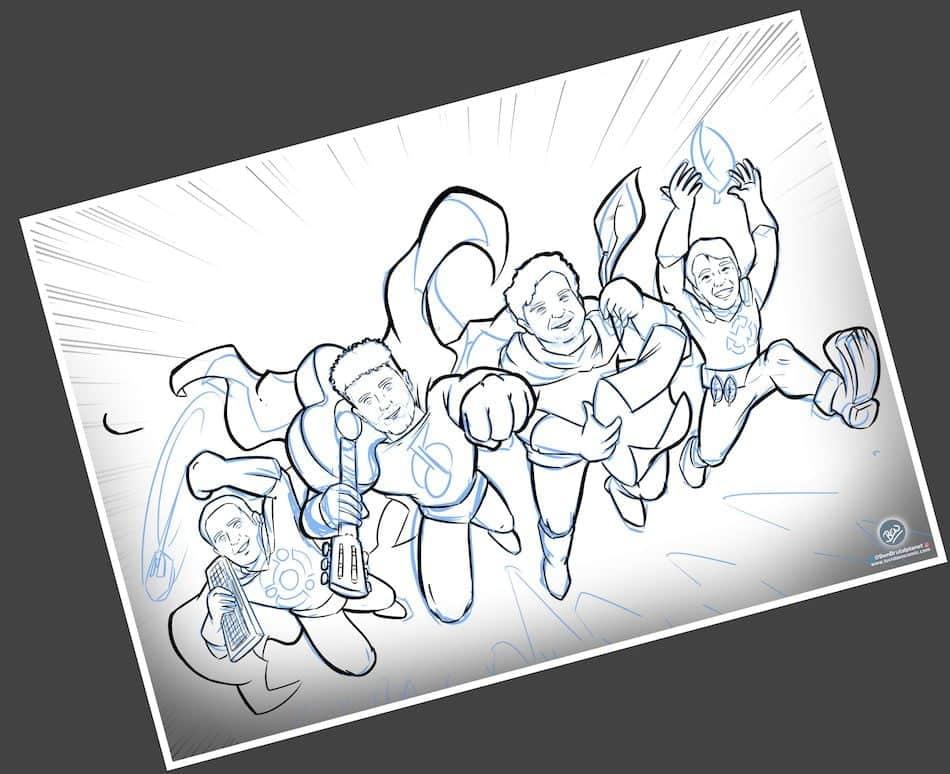 Ilustración Personalizada - Amigos y Superhéroes - Caricatura Personalizada - tuvidaencomic.com - BEN - 2