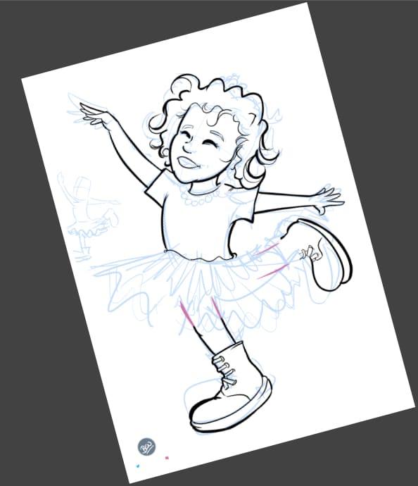 Ilustración personalizada - Afra la Bailarina - caricatura personalizada - tuvidaencomic.com - BEN - 2
