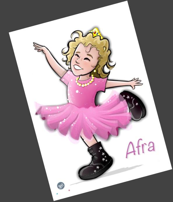Ilustración personalizada - Afra la Bailarina - caricatura personalizada - tuvidaencomic.com - BEN - 3