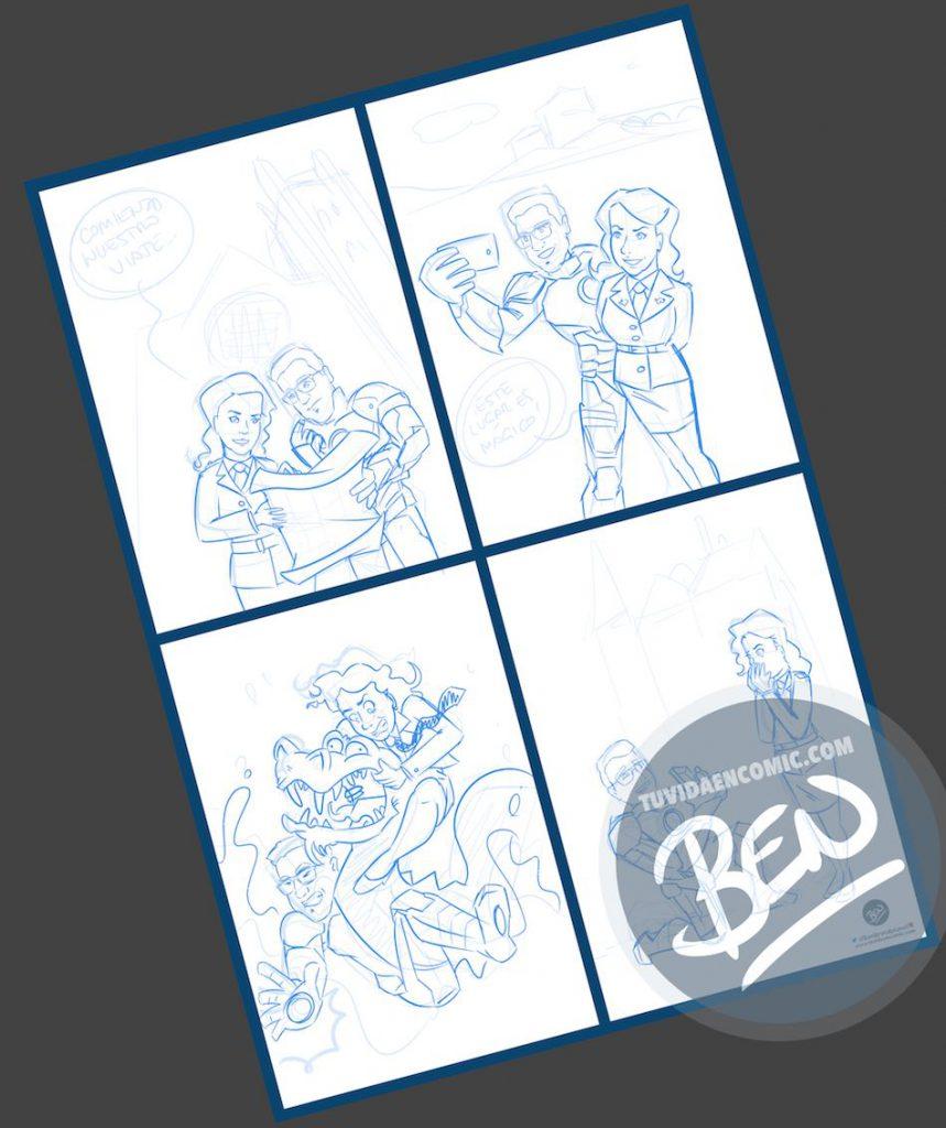 Composición de ilustraciones - Historia de amor en cuatro escenas - Ilustración - Caricatura personalizada - 1