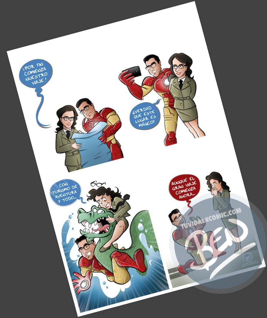 Composición de ilustraciones - Historia de amor en cuatro escenas - Ilustración - Caricatura personalizada - 3