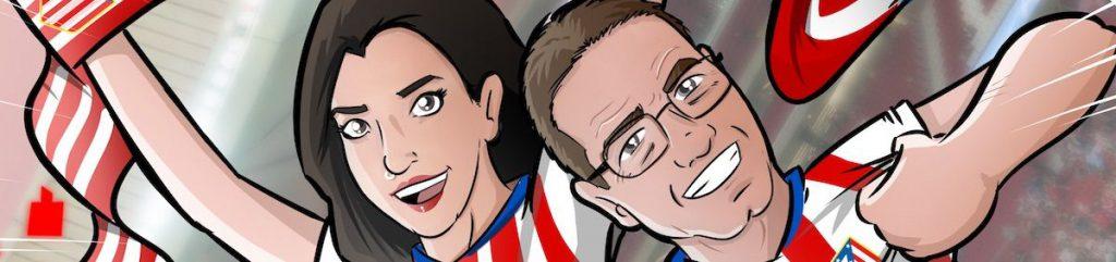 """Ilustración Personalizada - """"Padre, hija y mucho Atleti"""" - Caricatura Personalizada - tuvidaencomic.com - BEn 0"""