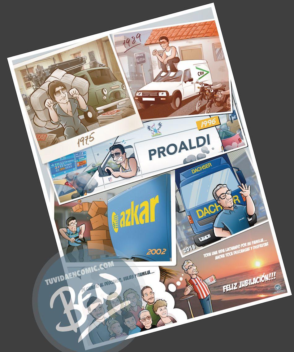 Ilustración personalizada - Composición - Regalo de Jubilación Camionero - Caricatura personalizada - tuvidaencomic.com - BEN 1