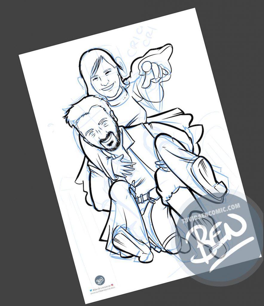 Ilustración personalizada - Las otras aventuras de Han Solo y Leia - Caricatura personalizada - BEN - tuvidaencomic.com - 2