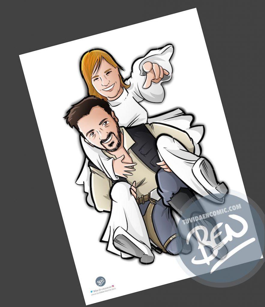 Ilustración personalizada - Las otras aventuras de Han Solo y Leia - Caricatura personalizada - BEN - tuvidaencomic.com - 3