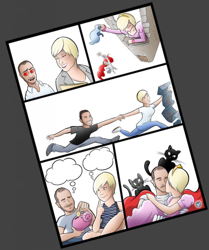 Cómic personalizado - Una historia de amor, de esas con caballeros, princesas... y gatos - Ilustración - Caricatura personalizada - tuvidaencomic.com - BEN - 3