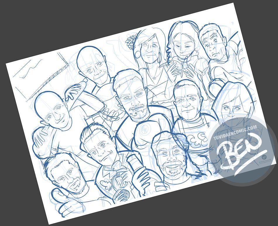 Ilustración grupal personalizada - Así da gusto madrugar - Caricatura Personalizada - tuvidaencomic.com - BEN - 1