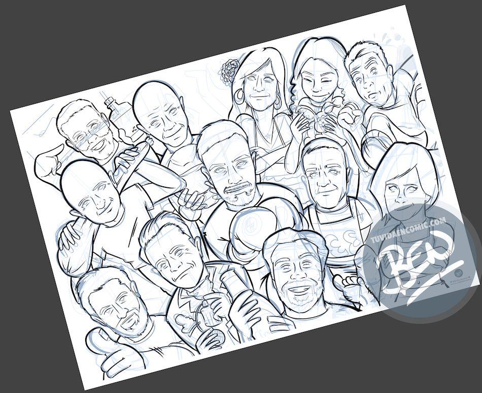 Ilustración grupal personalizada - Así da gusto madrugar - Caricatura Personalizada - tuvidaencomic.com - BEN - 2