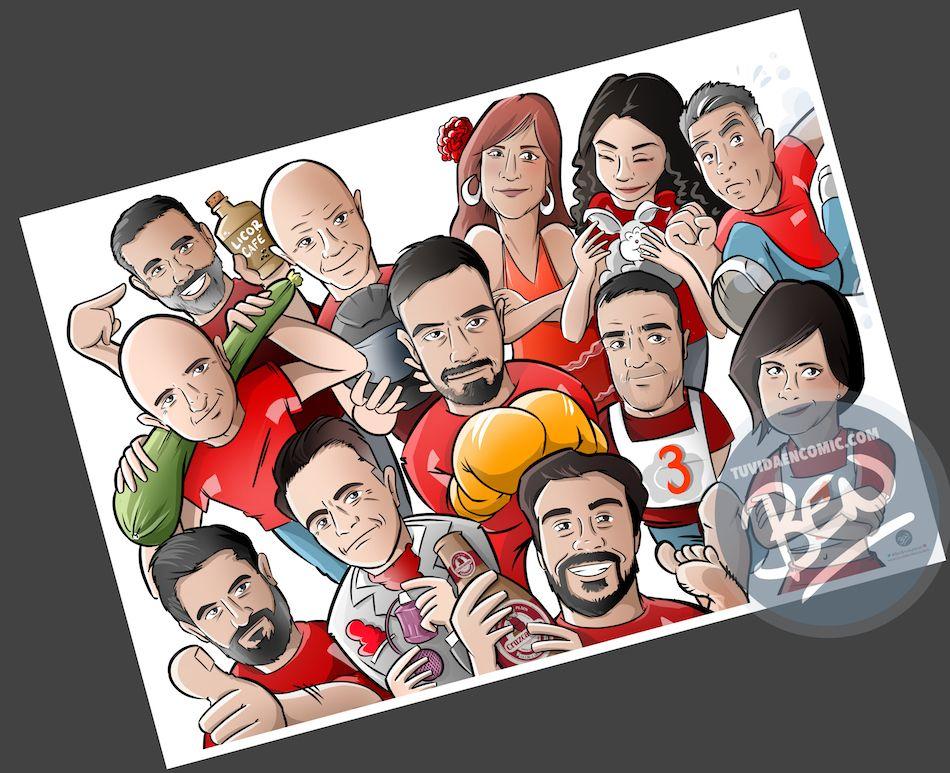 Ilustración grupal personalizada - Así da gusto madrugar - Caricatura Personalizada - tuvidaencomic.com - BEN - 3
