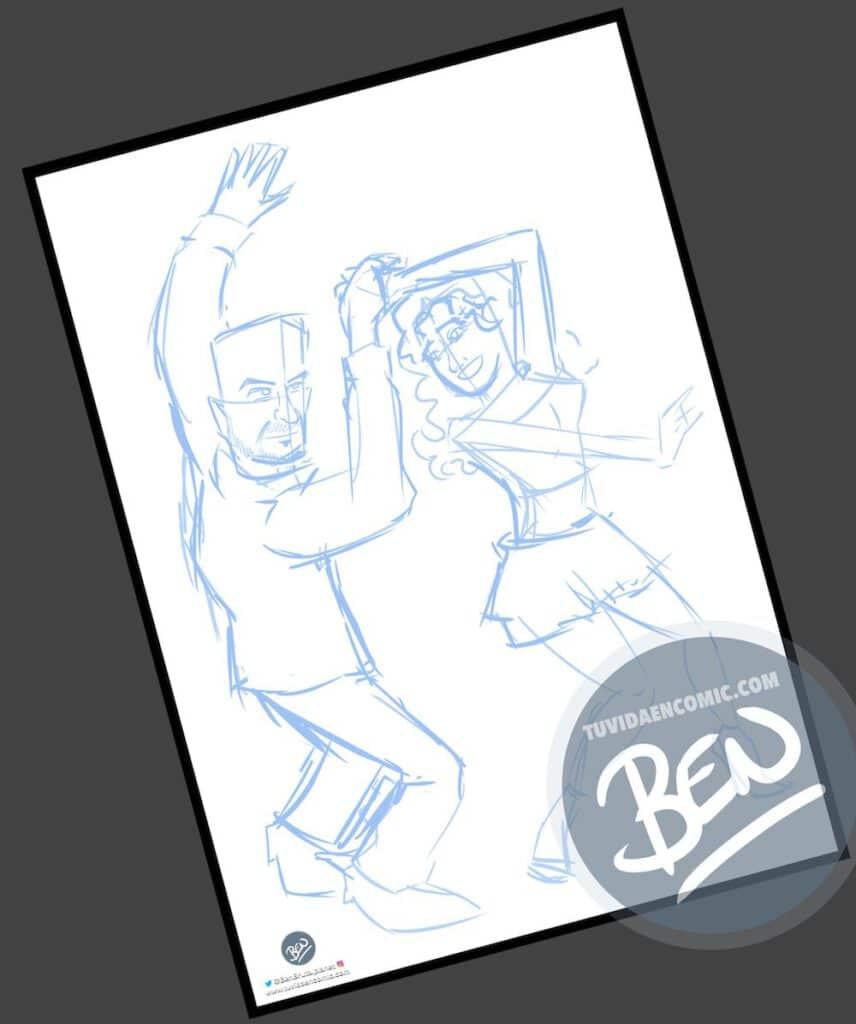 Ilustración personalizada - Bailando - Caricatura Personalizada - tuvidaencomic.com - BEN - 1