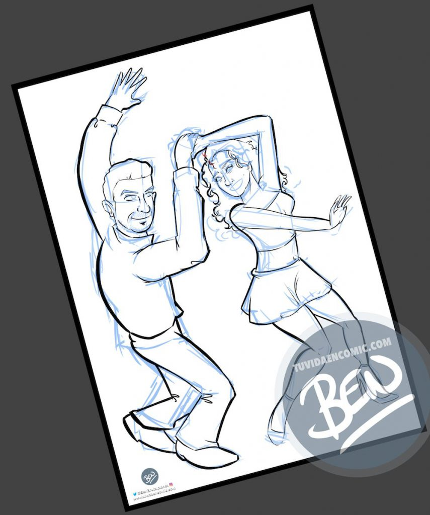 Ilustración personalizada - Bailando - Caricatura Personalizada - tuvidaencomic.com - BEN - 2