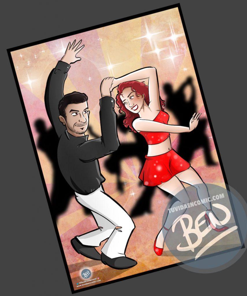 Ilustración personalizada - Bailando - Caricatura Personalizada - tuvidaencomic.com - BEN - 4