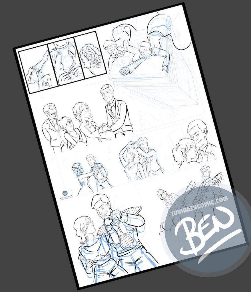 """Cómic personalizado - """"Coge la Tardis, que nos vamos de boda"""" - Ilustración - Caricatura personalizada - www.tuvidaencomic.com - BEN - 0"""