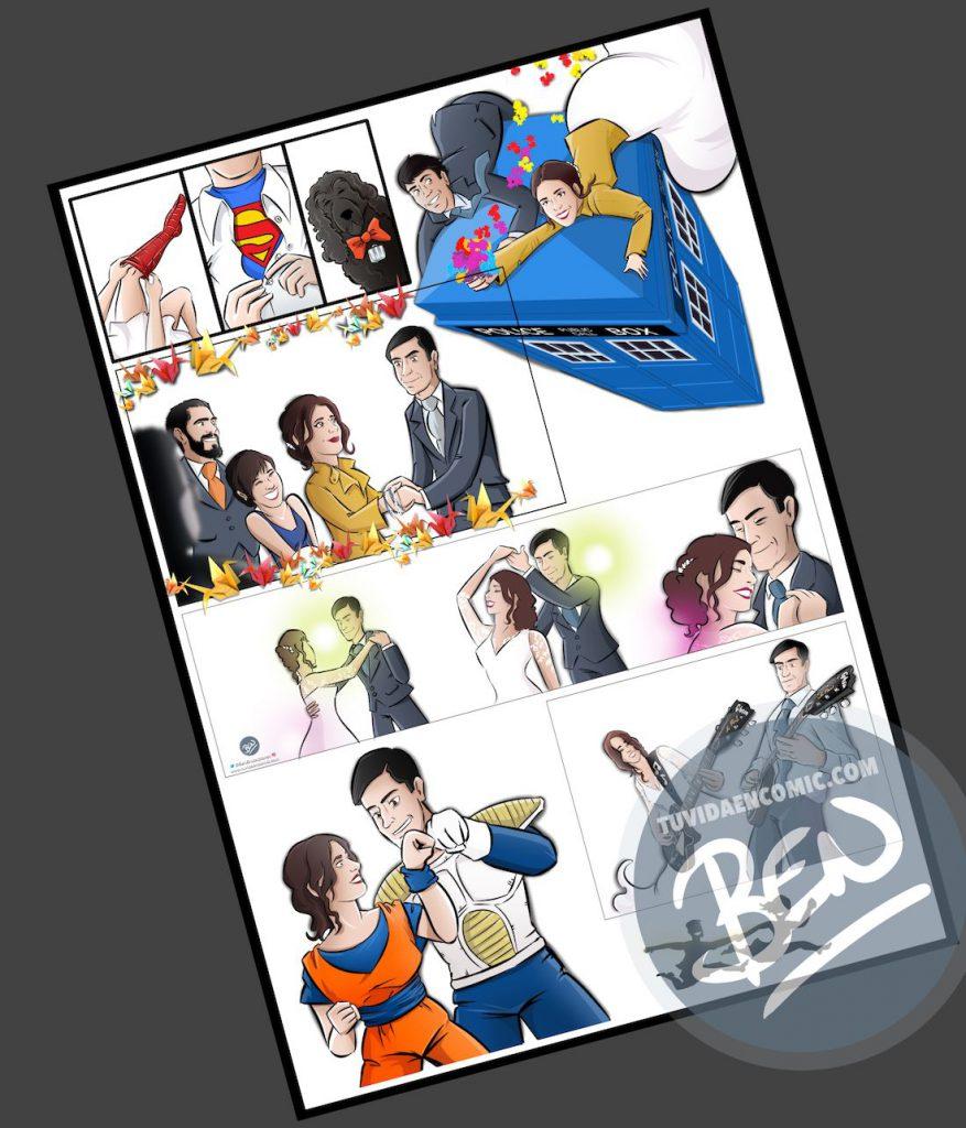"""Cómic personalizado - """"Coge la Tardis, que nos vamos de boda"""" - Ilustración - Caricatura personalizada - www.tuvidaencomic.com - BEN - 2"""